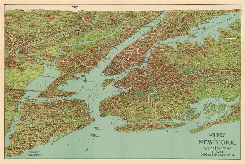 View of New York and Vicinity Showing Good Automobile Roads. - Main View