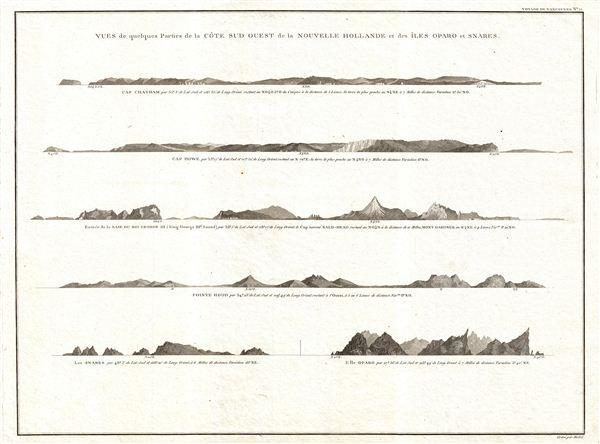 Vues de quelques Parties de la Cote Sud ouest de la Nouvelle Hollande et des Iles Oparo et Snares. - Main View