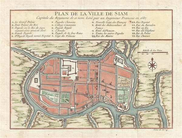 Plan de la Ville de Siam Capitale du Royaume de ce nom Leve par un Ingenieur Francois en 1687.