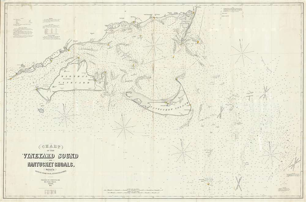 1864 Eldridge Blueback Nautical Chart Map of Marthas Vineyard and Nantucket