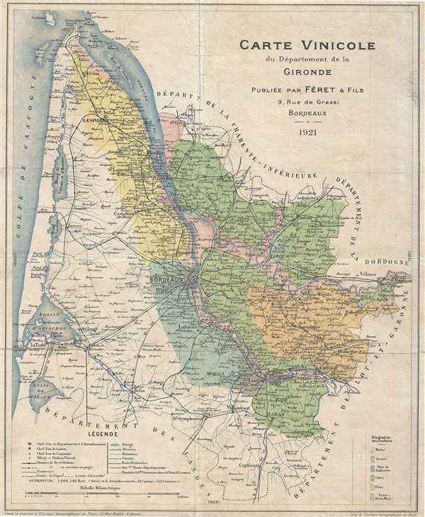 Carte Vinicole du Departement de la Gironde.