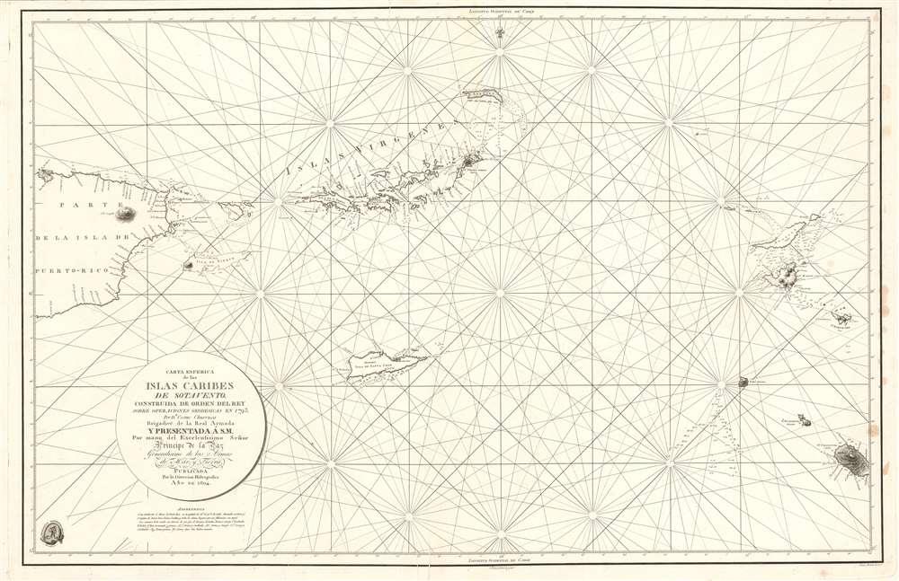 Carta Esferica de la Islas Caribes de Sotavento. - Main View