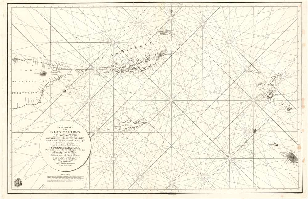 1804 Direccion Hidrografica Nautical Chart or Map of the Virgin Islands
