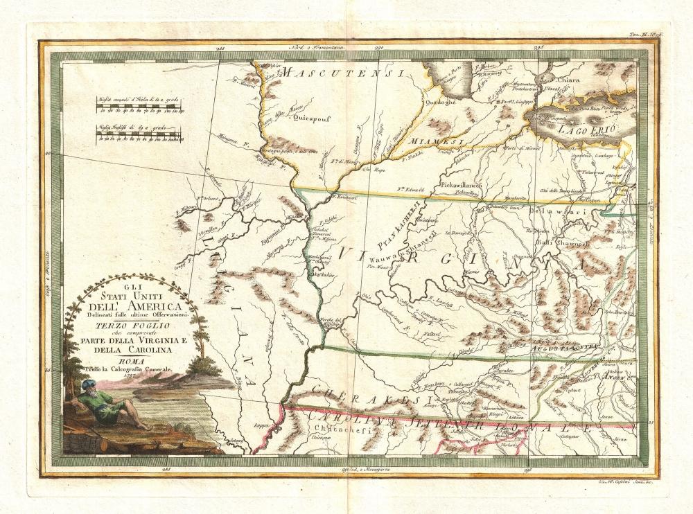 Gli Stati uniti dell' America delineati sulle ultime Osservazioni.  Terzo foglio che comprende parte della Virginia e della Carolina.