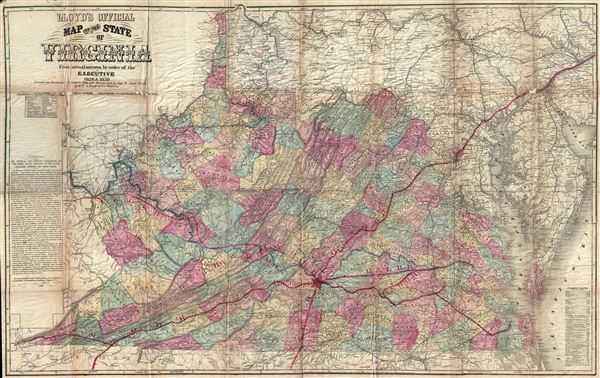 Lloyd's Official Map of the State of Virginia From actual surveys by order of the Executive 1828 and 1859.
