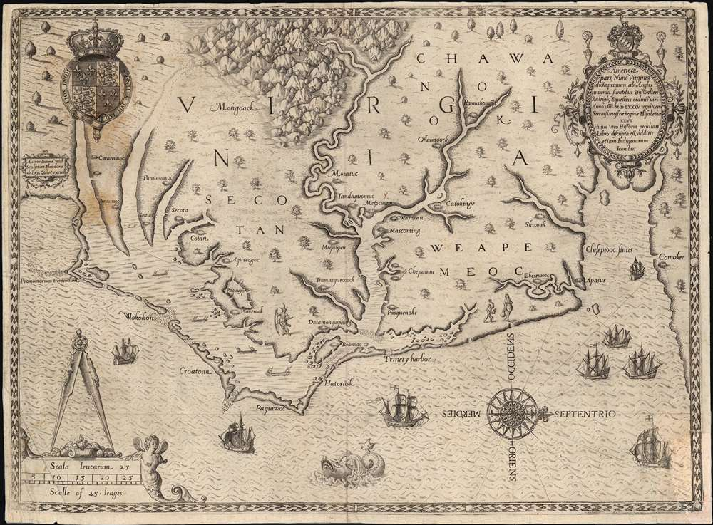 1590 White/ De Bry map of the Virginia Colony