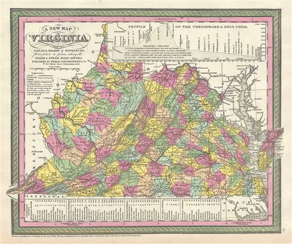 A New Map of Virginia with its Canals, Roads and Distances from place to place, along the Stage and Steam Boat Routes.