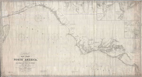 Chart of the East Coast of North America, Extending from New York to the Strait of Florida, including Plans on a Large Scale of the Principal Harbors, Drawn chiefly from the Surveys made by order of the United States Government.