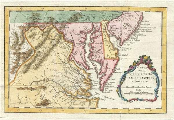 Carta Della Virginia Della Baja Chesapeack E Paesi Vicini
