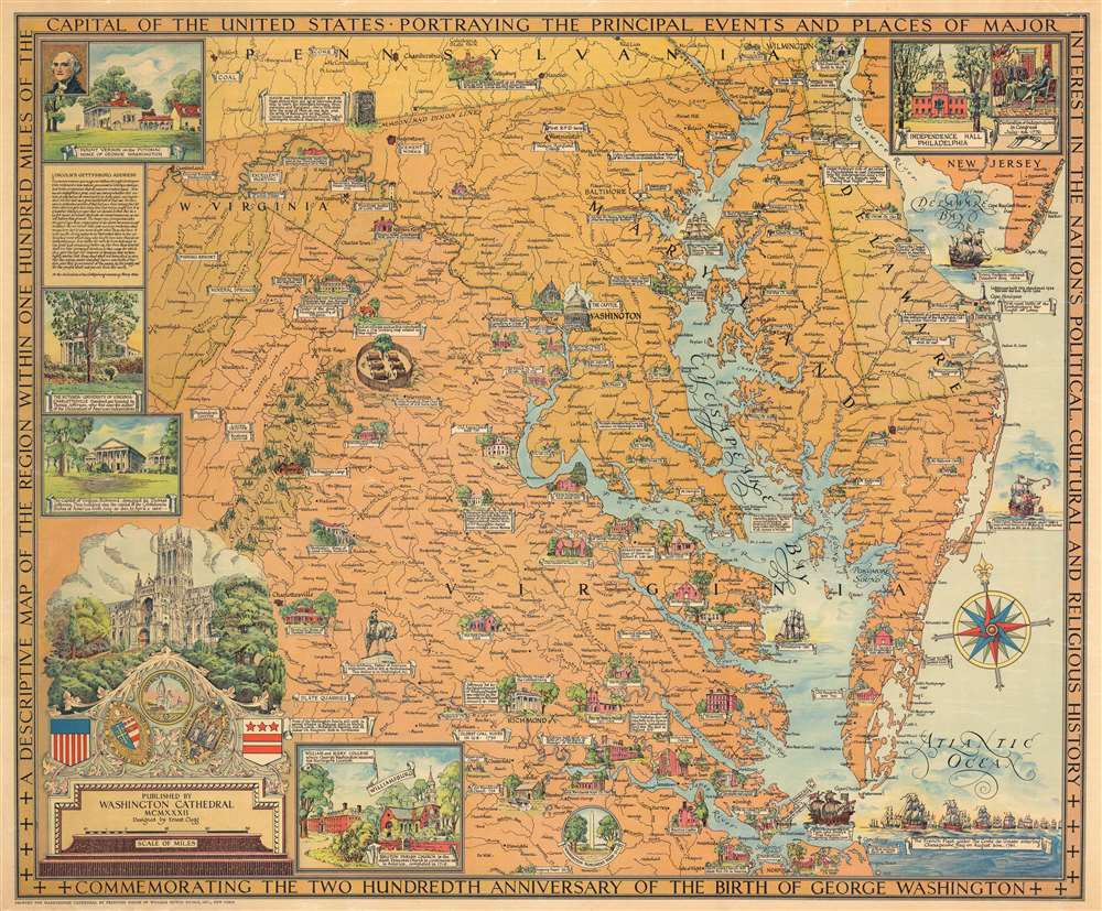 1932 Clegg Pictorial Map of Virginia, Maryland, and Delaware