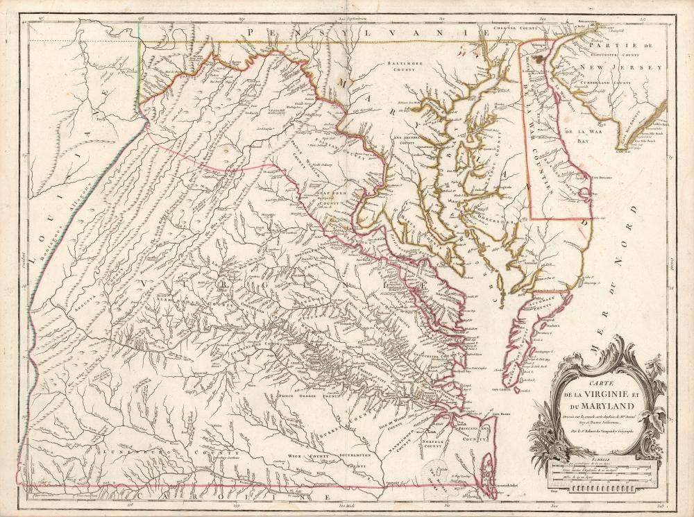 Carte de la Virginie et du Maryland Dressée sur la grande carte Angloise de Mrs. Josué Fry et Pierre Jefferson, Par le Sr. Robert de Vaugondy Géographe. - Main View