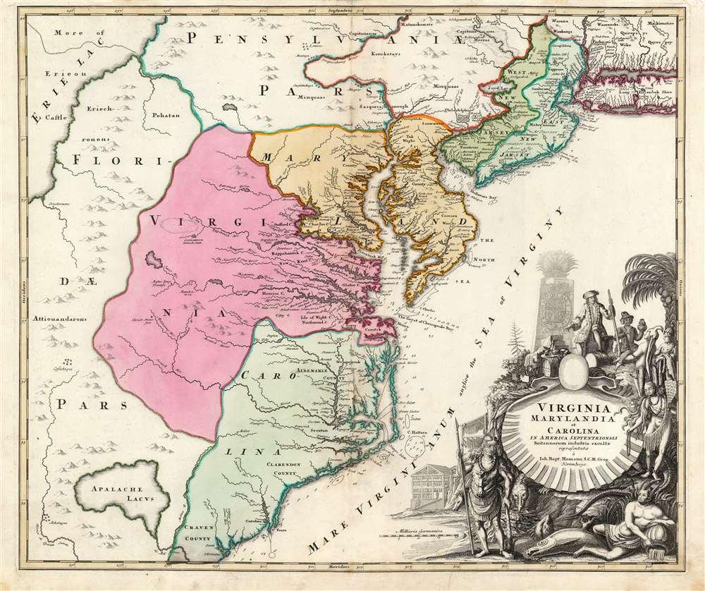 Virginia Marylandia et Carolina in America Septentrionali Britannorum industria excultae… - Main View
