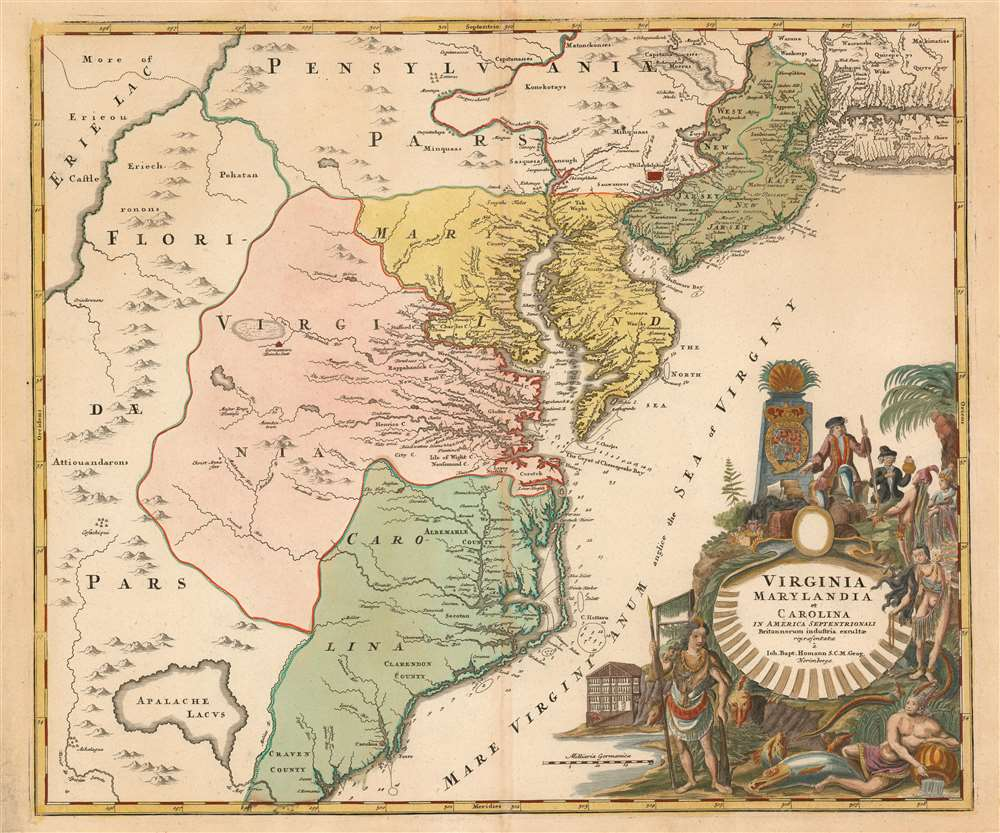 Virginia Marylandia et Carolina in America Septentrionali Britannorum industria excultae…