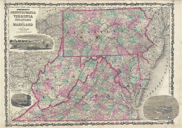 Johnson's Pennsylvania Virginia Delaware and Maryland. - Main View