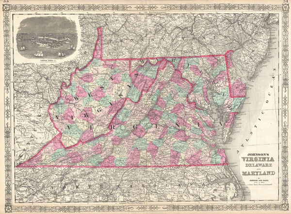 Johnson's Virginia Delaware and Maryland. - Main View