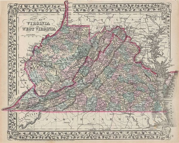 County map of Virginia and West Virginia. - Main View