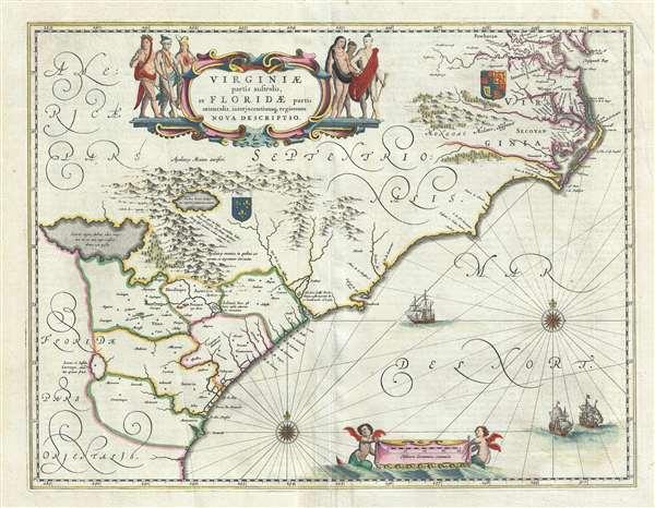 Virginiae Partis australis, et Floridae partis orientalis, interjacentiumqus regionum Nova Descriptio.