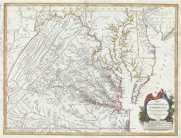 Carte de la Virginie et du Maryland.