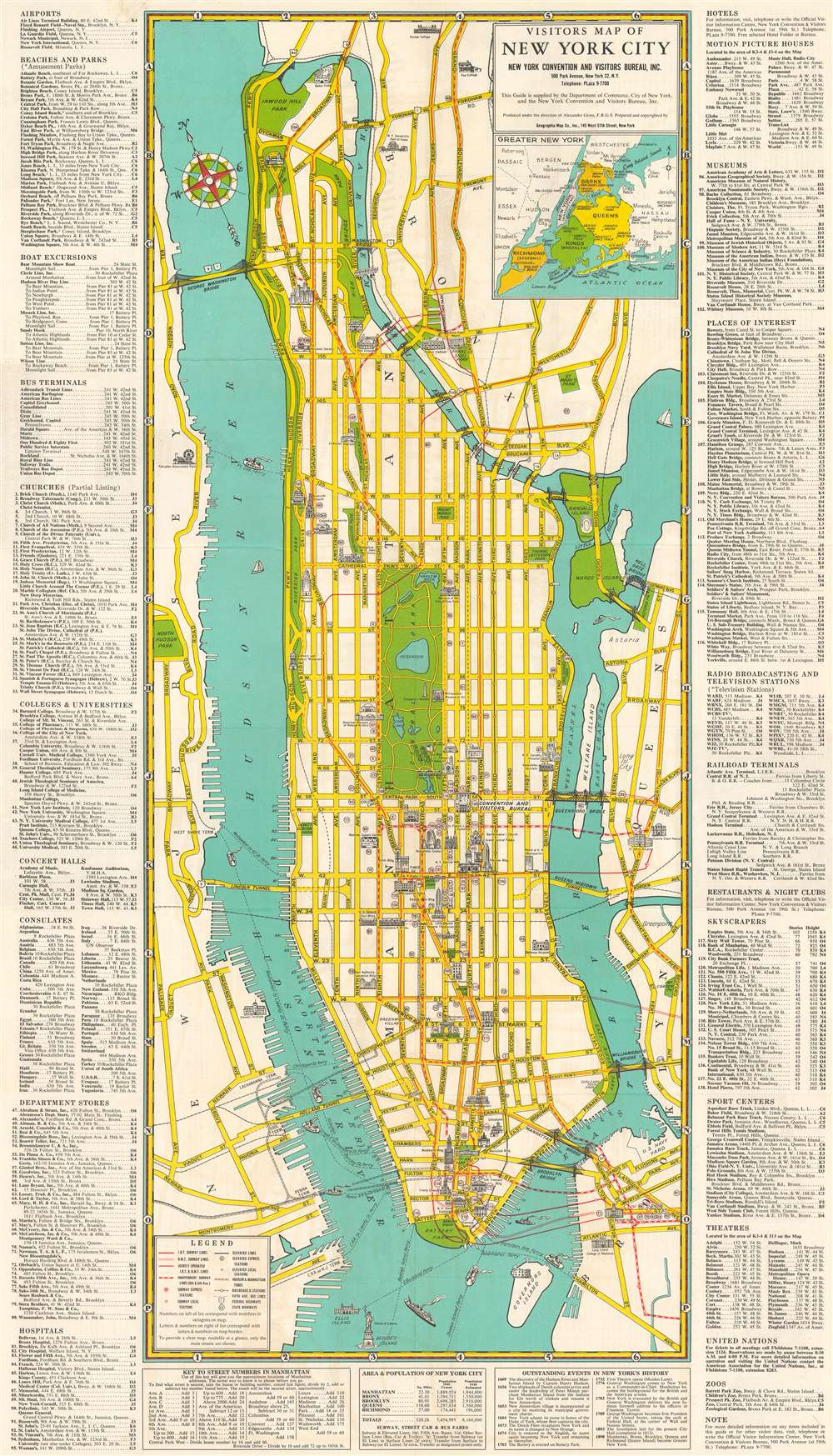 1948 Geographia City Plan or Map of Manhattan, New York City