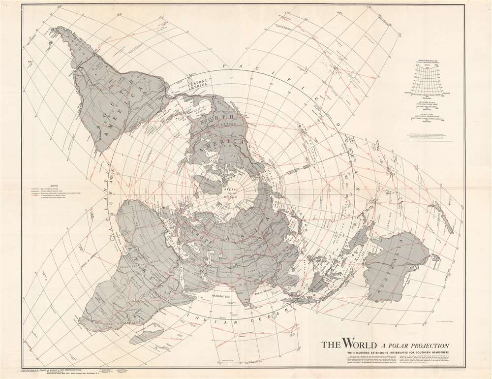 1943 Vaucher and Pirola Map of the World on a Polar Projection