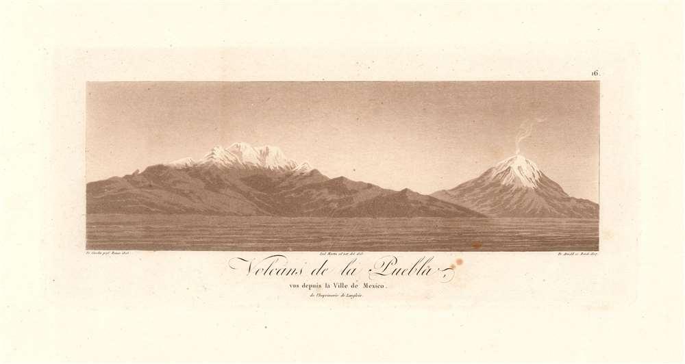 Volcans de la Puebla, vus depuis la Ville de Mexico de l'Imprimerie de Langlois. - Main View