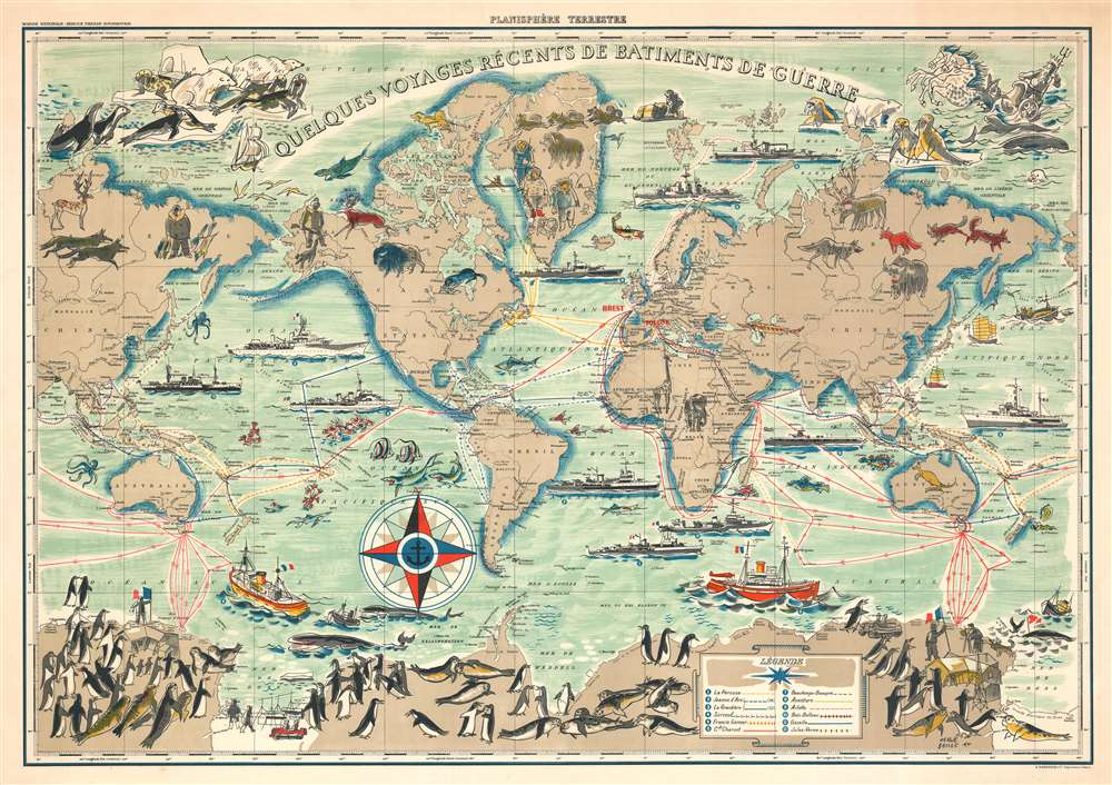 1954 Baille Pictorial Map of the World Tracing Voyages of French Warships