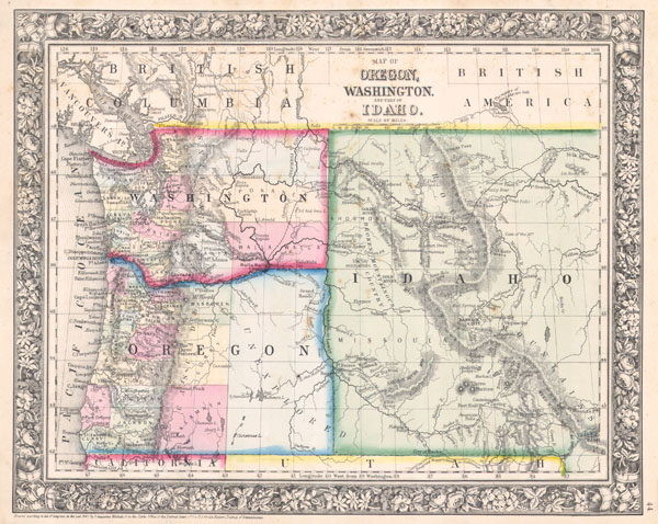 Map of Oregon, Washington and part of Idaho. - Main View