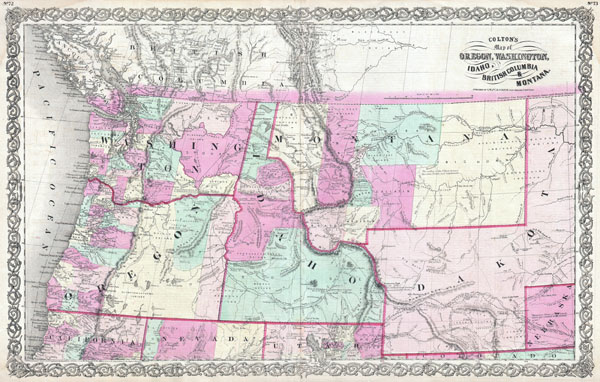 Colton's Map of Oregon, Washington, Idaho, British Columbia & Montana.