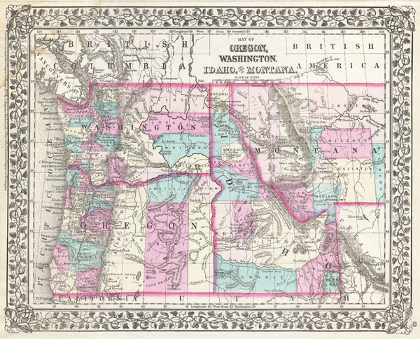 Map of Oregon, Washington, Idaho, and part of Montana.