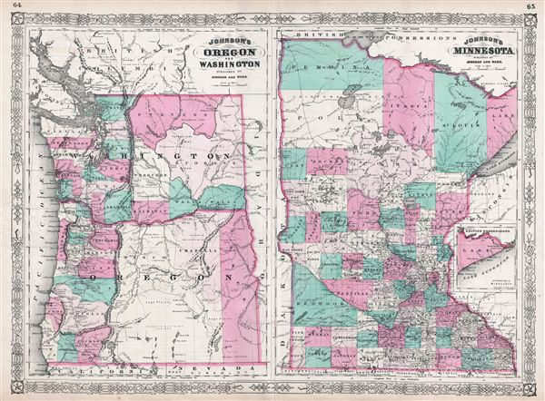Johnson's Oregon and Washington / Johnson's Minnesota. - Main View