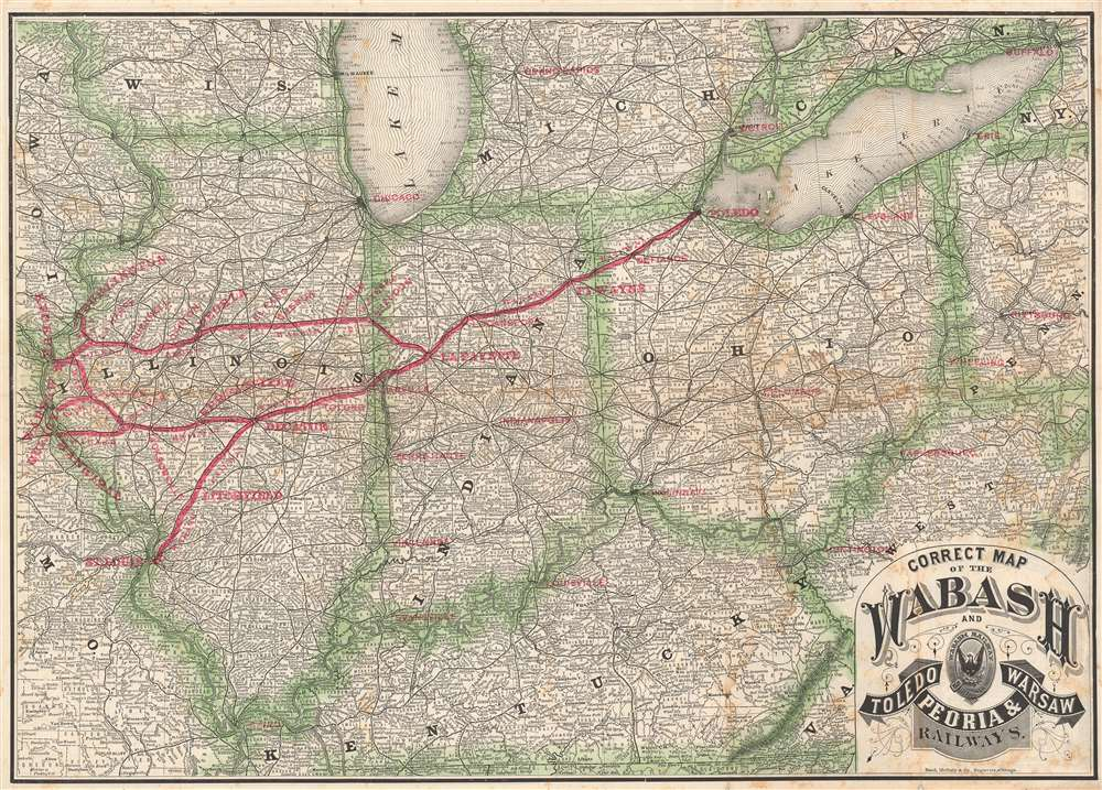 Correct Map of the Wabash and Toledo, Peoria, and Warsaw Railways. - Main View