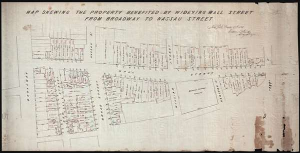Map Shewing the Property Benefited by Widening Wall Street from Broadway to Nassau Street.