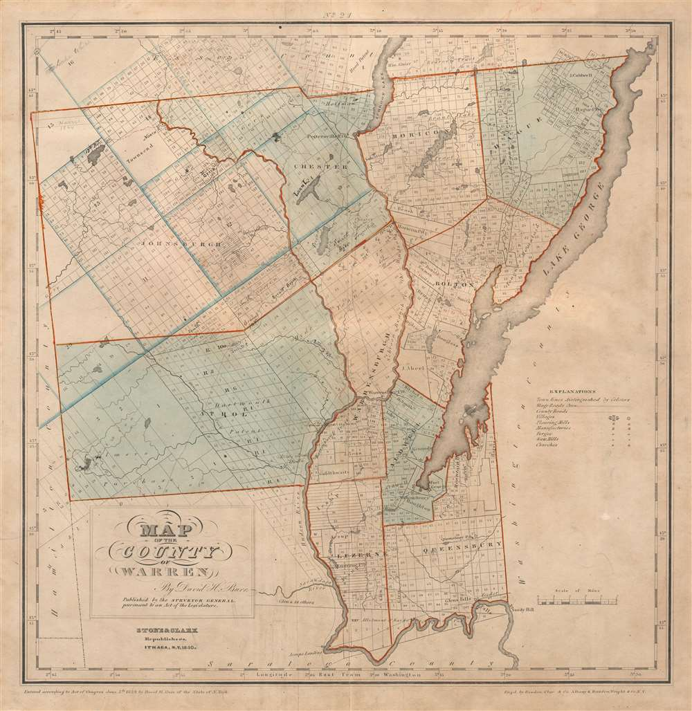 1840 Burr Map of Lake George and Warren County, New York