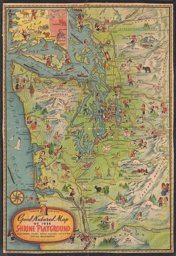 Good Natured Map of 1936 Shrine Playground. - Main View