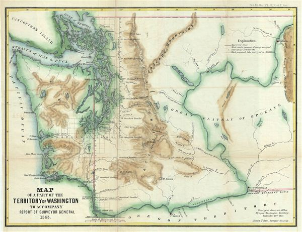 Map of a Part of the Territory of Washington to Accompany Report of Surveyor General 1855. - Main View