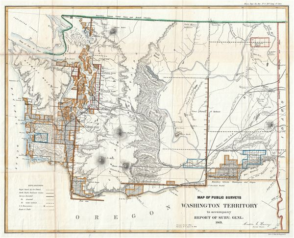 Map of Public Surveys Washington Territory to accompany Report of Surv: Genl: 1863. - Main View
