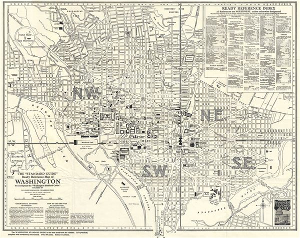 The 'Standard Guide' Ready Reference Map of Washington to accompany the 'Washington Standard Guide'.