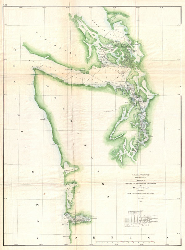 Sketch K Showing the Progress of the Survey in Section No. XI (upper sheet) from Tillamook Bay to the Boundary from 1850 to 1857.