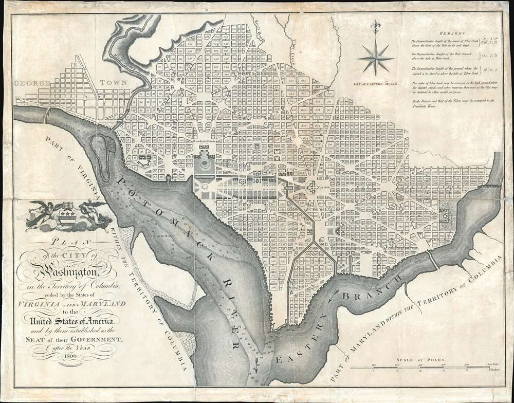 Plan of the City of Washington in the Territory of Columbia ceded by the States of Virginia and Maryland tothe United States of America and by them established as the Seat of their Government after the Year 1800. - Main View