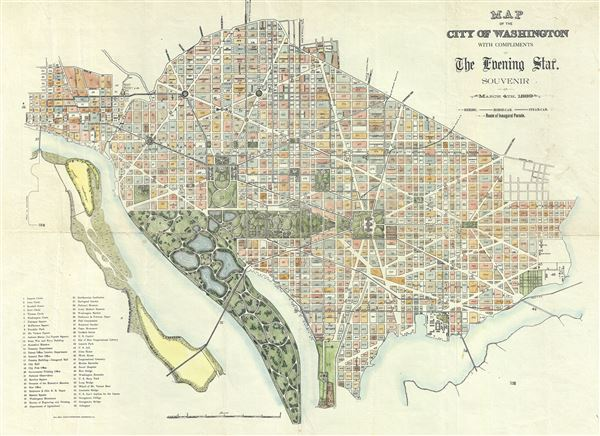 Map of the City of Washington with compliments of The Evening Star. Souvenir of March 4th, 1889. - Main View