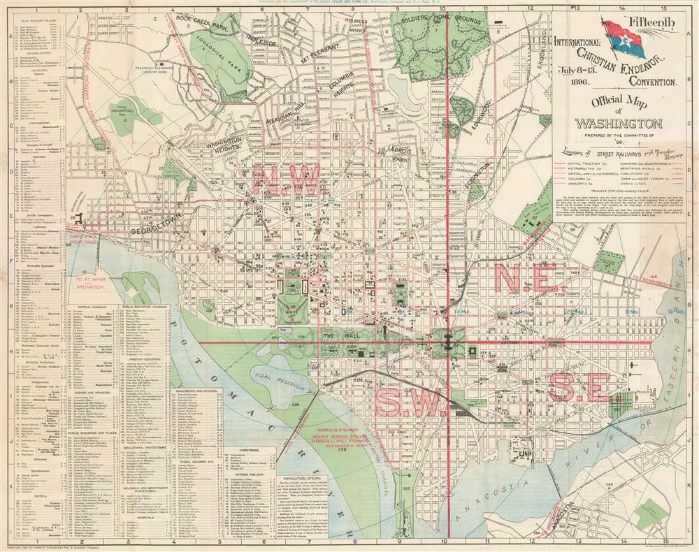 Official Map of Washington. Fifteenth International Christian Endeavor Convention. July 8 - 13, 1896. - Main View