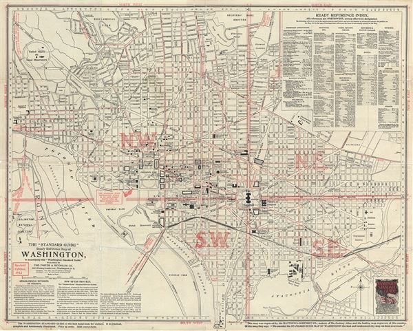 The 'Standard Guide' Ready Reference Map of Washington, to accompany the 'Washington Standard Guide'.