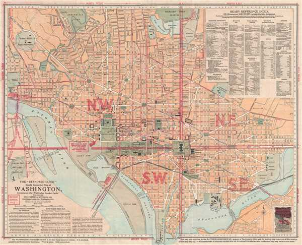 1912 Foster and Reynolds Map or Plan of Washington D.C.
