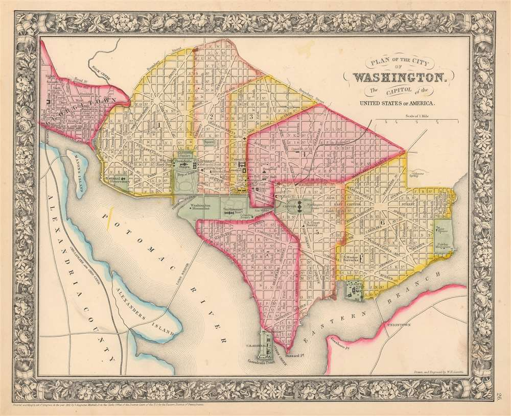 1864 Mitchell City Map or Plan of Washington D. C.