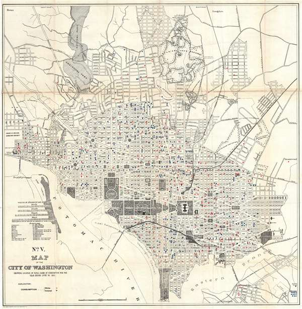No. V. Map of the City of Washington Showing Location of Fatal Cases of Consumption for the Year Ended June 30, 1901.