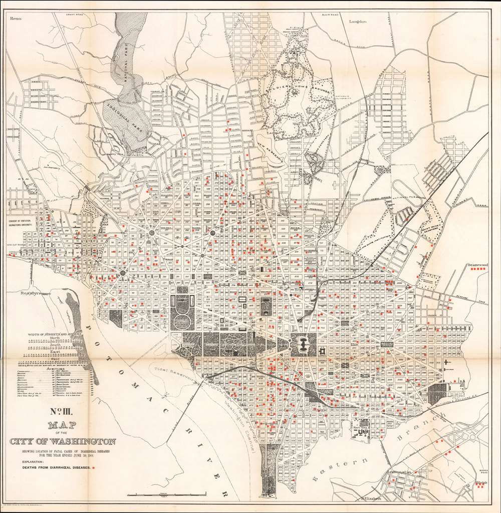 No. III. Map of the City of Washington Showing Location of Fatal Cases of Diarrhœal Diseases for the Year Ended June 30, 1901.