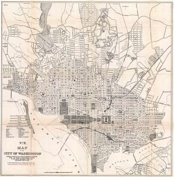 No. II. Map of the City of Washington Showing Location of Fatal Cases of Diphtheria and Scarlet Fever, also Number of Cases Thereof Reported to the Health Department During the Year Ended June 30, 1901.