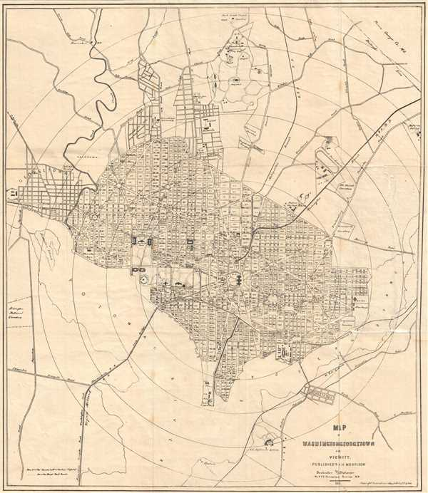 Map of Washington, Georgetown, and Vicinity depicting the Washington Monument 5 years before it opened to the public.