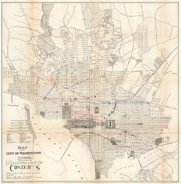 Map of the City of Washington Showing Location of U. S. Electric Light Cos. Conduits.