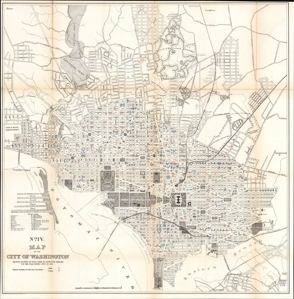 No. IV. Map of the City of Washington Showing Location of Fatal Cases of Lung Diseases for the Year Ended June 30, 1901.